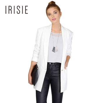 IRISIE Apparel White Office Women Blazer Suit Black Casual Female Jacket Sky Blue Loose Jacket Suit Peach Single Button Blazer