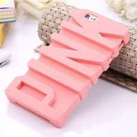 Topit Victoria's Secret Pink Letter Designed Silicon Case Cover skin For Apple iphone 5/5s + 1psc Wristband (Pink)