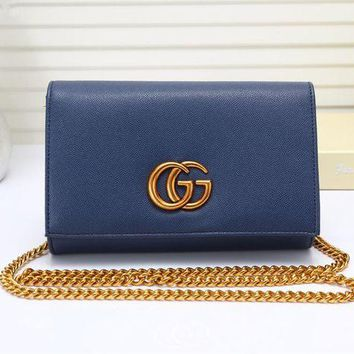 DCCK6HW Gucci' Women Simple Fashion Double G Metal Chain Single Shoulder Messenger Bag Flip Small Square Bag