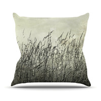 "Iris Lehnhardt ""Summer Grasses"" Neutral Gray Throw Pillow"