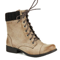 Get Distressed Nude Boots - Unique Vintage - Homecoming Dresses, Pinup & Prom Dresses.