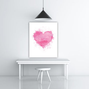 Love Pink Watercolor Heart Art, Pink Heart Wall Art Watercolor Printable Modern Art Print Modern Watercolor Artwork Heart Gift Modern Poster