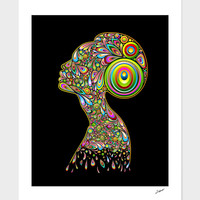«Woman Abstract Psychedelic Portrait» Art Print by BluedarkArt Lem - Numbered Edition from 29€   Curioos
