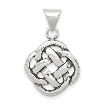 925 Sterling Silver Antiqued Celtic Knot Shaped Pendant