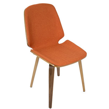 Serena Mid-Century Modern Dining Chairs in Orange Fabric- Set of 2