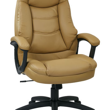 Office Star Oversized Executive Tan Faux Leather Chair with Padded Arms [FL3422-U31]