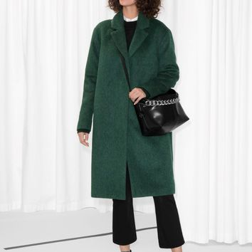 & Other Stories | Wool & Mohair Blend Long Coat | Green
