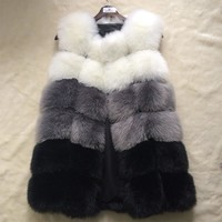 HONGZUO Fur Coat Women Faux Fox Fur Vest
