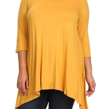 Women's Solid Relax Fit Round Neck 3/4 Sleeve Tunic Tops for Regular Plus – Small ~ 3XL