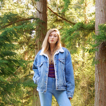 70s Levis Denim Jacket, Vintage Levis Jacket Fleece Lined Jean Jacket, Large Oversized Denim Jacket 90s Grunge Boho Trucker Sherpa Jean Jkt