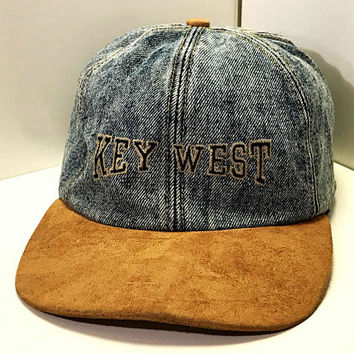 Vintage Denim Baseball Cap / Key West Florida Tourist Hat / Acid Wash Denim and Suede Hat / Velcro Snap Back Two Tone Cap / Retro Dad Hat