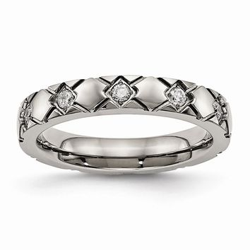 Titanium Polished Criss Cross Grooved CZ Ring 6 to 13 Size