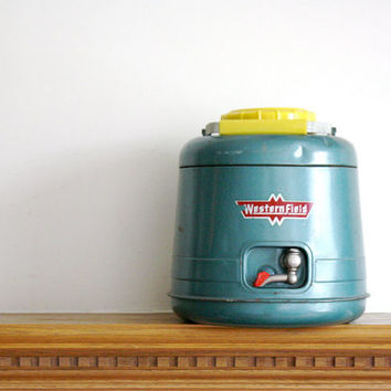 Vintage thermos vintage Thermic Jug by Westfield in Aqua and Yellow mid century
