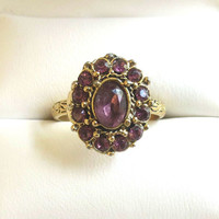 Vintage Amethyst Purple Rhinestones Oval Ring in Size 6 Adjustable