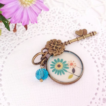 Flower Image Antique Bronze Pendant Midori Traveler's Notebook Charm