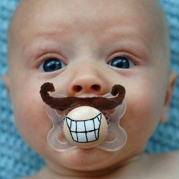 Mini Mario Hand Cut Custom Mustache Pacifier by piquantdesigns