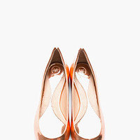 McQ Alexander McQueen Metallic Rose Gold Leather Pointy Toe Flats for women | SSENSE