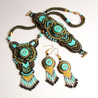 Statement bead embroidery set with bugle beads
