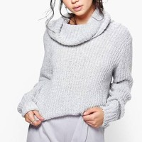 Boucle Crop Cowl Neck Sweater - Grey - M