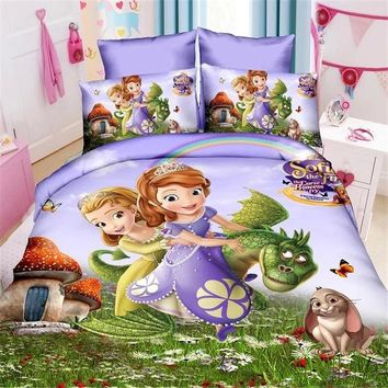 Disney mermaid sophia princess girls bedding set duvet cover bed sheet pillow cases twin single size