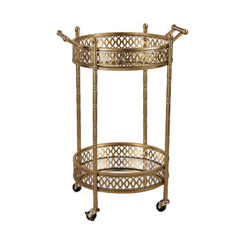 Sterling Industries Banded Round Bar Cart in Gold Leaf,Mirror 3200-031