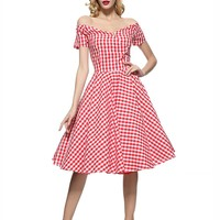 Maggie Tang 50s 60s Vintage Swing Rockabilly Pinup Party Full Circle Check Dress