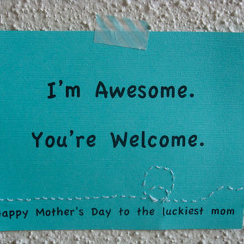 Funny Mother's Day Card EcoFriendly teal by CraftColorfully