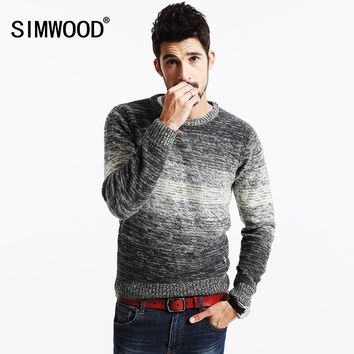 SIMWOOD 2016 New Autumn Winter Striped Sweater  Men   Vintage  Wool Pullovers O neck Slim fit Knitwear MY2063