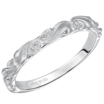 "Artcarved ""Hayley"" Diamond Wedding Band Featuring Floral Carving Scrollwork"