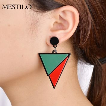 MESTILO Fashion Party Bijoux Brincos Geometric Big Triangle Acrylic Drop Earrings For Women Statement Long Resin Dangle Earrings