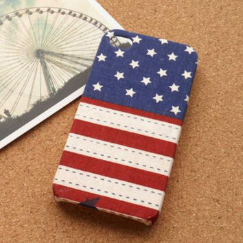 Handmade USA Flag Fabric Phone Case For iPhone 5