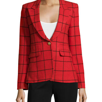 Elbow-Patch Grid Blazer, Size: