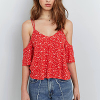 Light Before Dark Strappy Cold Shoulder Floral Top | Urban Outfitters