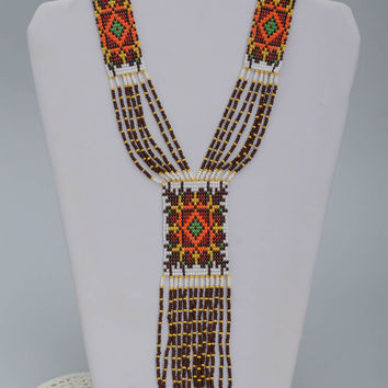 Handmade beaded jewelry seed beads necklace white necklace ethnic jewelry