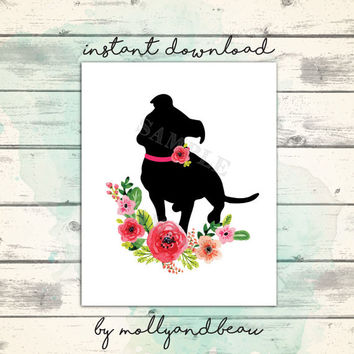 Pretty Pitbull Silhouette, Pitbull Printable, Pitbull, flower wreath, Pitbull Pride, Pitbull Flower Collar, Dog Printable, Bully Breed Print