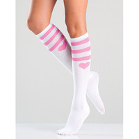 Be Wicked Pink Heart White Athletic Knee Highs