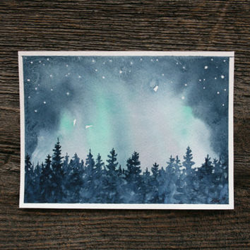 Northern Lights - Original Watercolour Painting 5 X 7