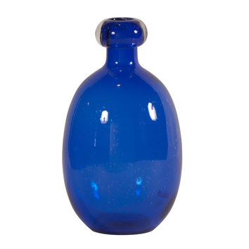Cobalt Blue Blown Glass Vase - Large