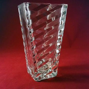 Art Deco Rectangular Vase with Ribbed Lines