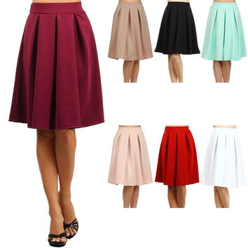 Fashion Casual Party Women Retro Maxi Long Slim Pleated Skirt High Waist  7_S SV018242 = 1914117060