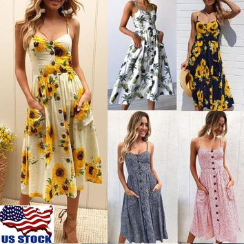 Womens Sunflower Sling Button Dress Summer Beach Party Midi Dress Casual Dresses