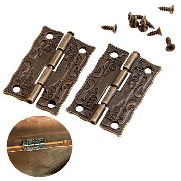 2Pcs 36x23mm Antique Bronze Cabinet Hinges Furniture Accessories Door Hinges Drawer Jewellery Box Hinges For Furniture Hardware