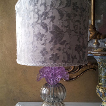 Authentic Italian Murano Alexandrite Rose Flower Hand Blown Glass Table Lamp with Rubelli Fabric Lamp Shade - Made in Venice