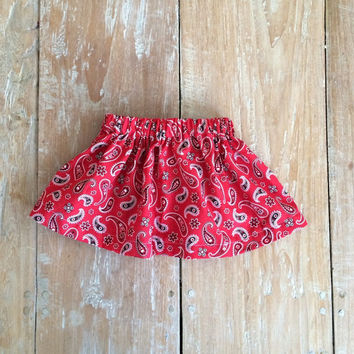 Baby girl's red bandana skirt, baby skirt, baby clothing, little girls skirt, paisley skirt, skirts for babies, western, 18-24 months