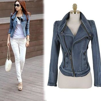Slim Fit Zipper Long Sleeved Women's Denim Jacket