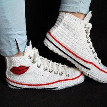 DCKL9 Crochet White Chuck Taylor Converse Slipper, Chuck Taylor All Star Crochet, Kiss Lips