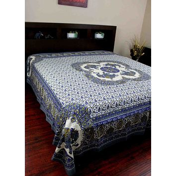 "Elephant Mandala Print Tapestry Tablecloth Bedspread Picnic blanket Cotton Queen 106"" x 106"""