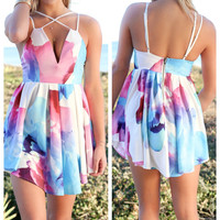 Calabasas Deep-V Multicolored Dress