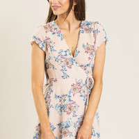 Dana Blush Floral Wrap Dress by LUSH