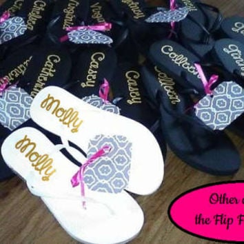 Bridal party Flip flops, Black Flip Flops, Personalized wedding party favors
